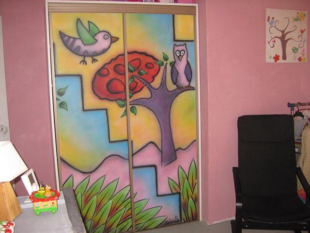 Fresque réalisée pour des chambres d'enfants