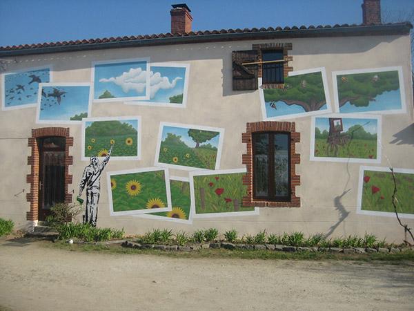 Fresque réalisée sur une maison au Landreau